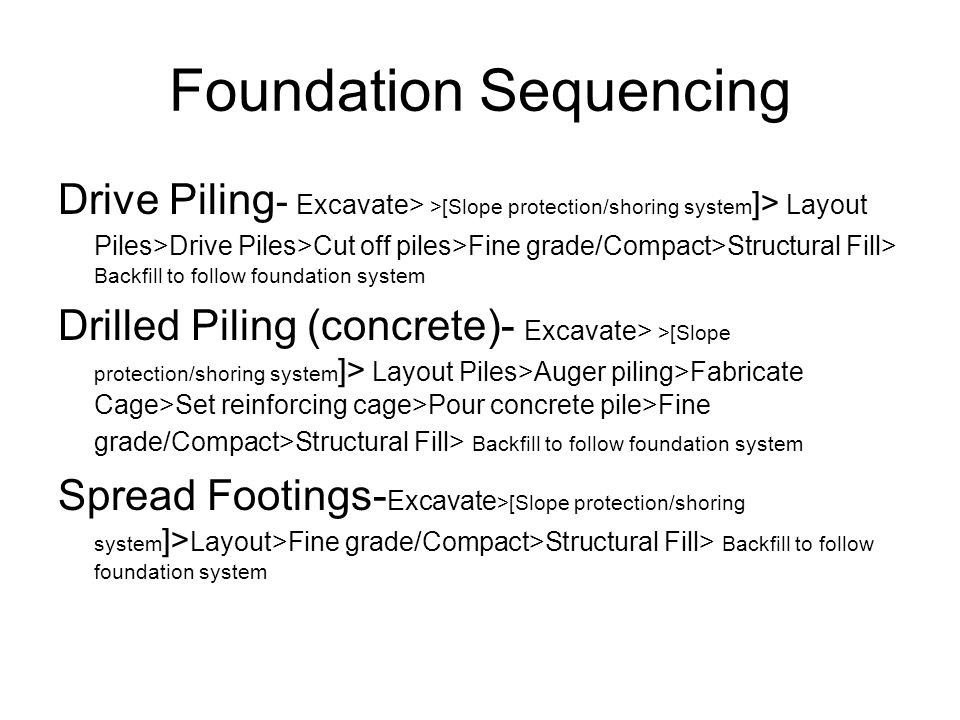 Foundation Sequencing Drive Piling - Excavate> >[Slope protection/shoring system ]> Layout Piles>Drive Piles>Cut off piles>Fine grade/Compact>Structural Fill> Backfill to follow foundation system Drilled Piling (concrete)- Excavate> >[Slope protection/shoring system ]> Layout Piles>Auger piling>Fabricate Cage>Set reinforcing cage>Pour concrete pile>Fine grade/Compact>Structural Fill> Backfill to follow foundation system Spread Footings- Excavate >[Slope protection/shoring system ]> Layout>Fine grade/Compact>Structural Fill> Backfill to follow foundation system