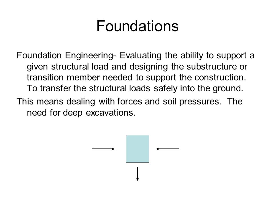 Foundations Foundation Engineering- Evaluating the ability to support a given structural load and designing the substructure or transition member needed to support the construction.