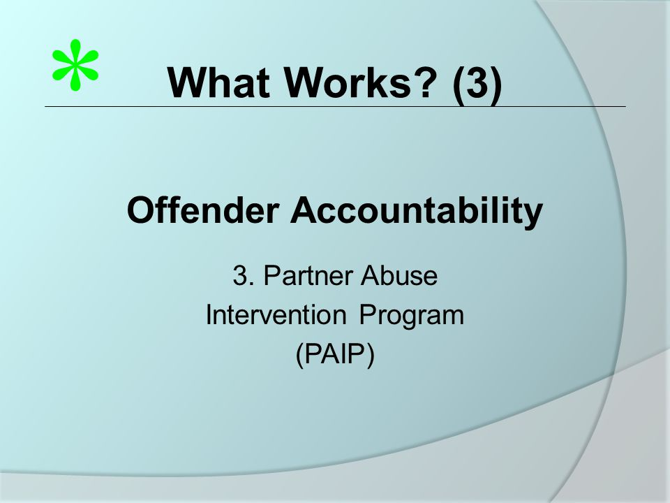 What Works? (3) Offender Accountability 3. Partner Abuse Intervention Program (PAIP) *