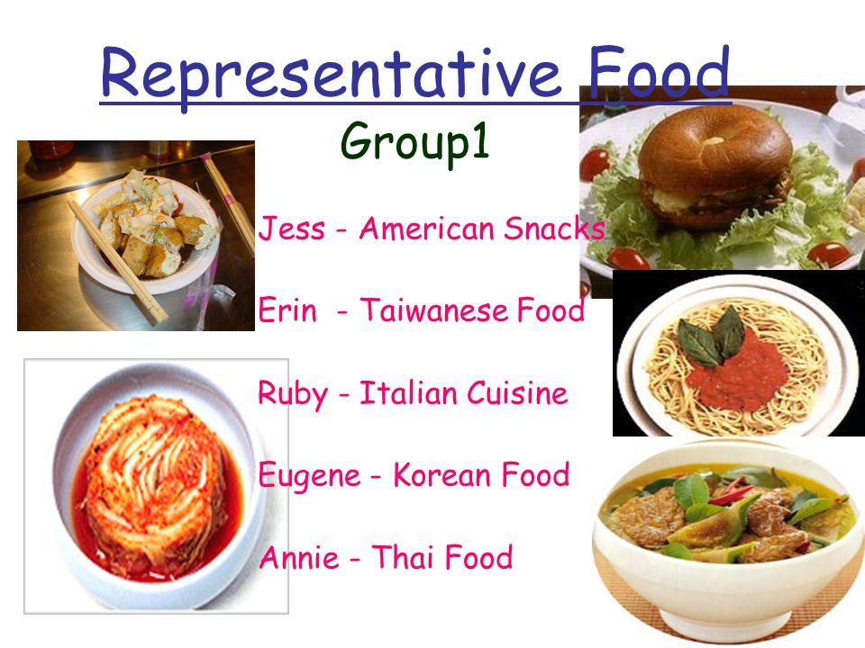 Representative Food Group1 Jess - American Snacks Erin - Taiwanese Food Ruby - Italian Cuisine Eugene - Korean Food Annie - Thai Food