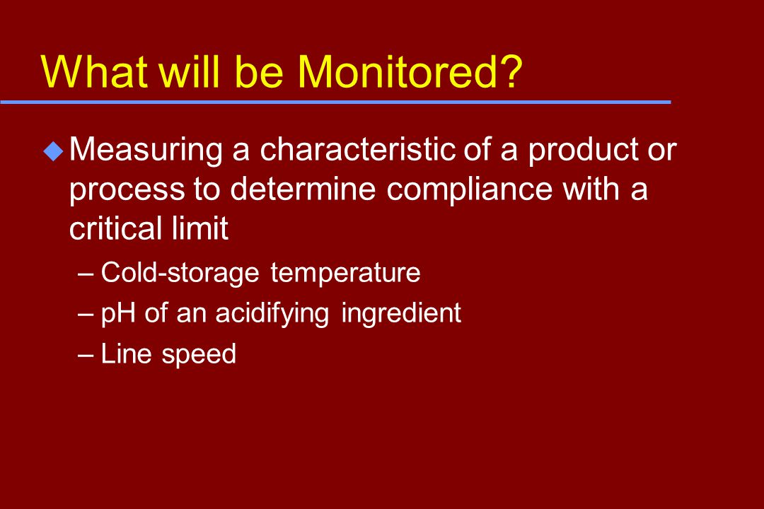 What will be Monitored.