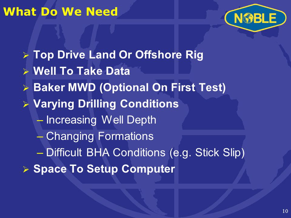 10 What Do We Need  Top Drive Land Or Offshore Rig  Well To Take Data  Baker MWD (Optional On First Test)  Varying Drilling Conditions –Increasing Well Depth –Changing Formations –Difficult BHA Conditions (e.g.