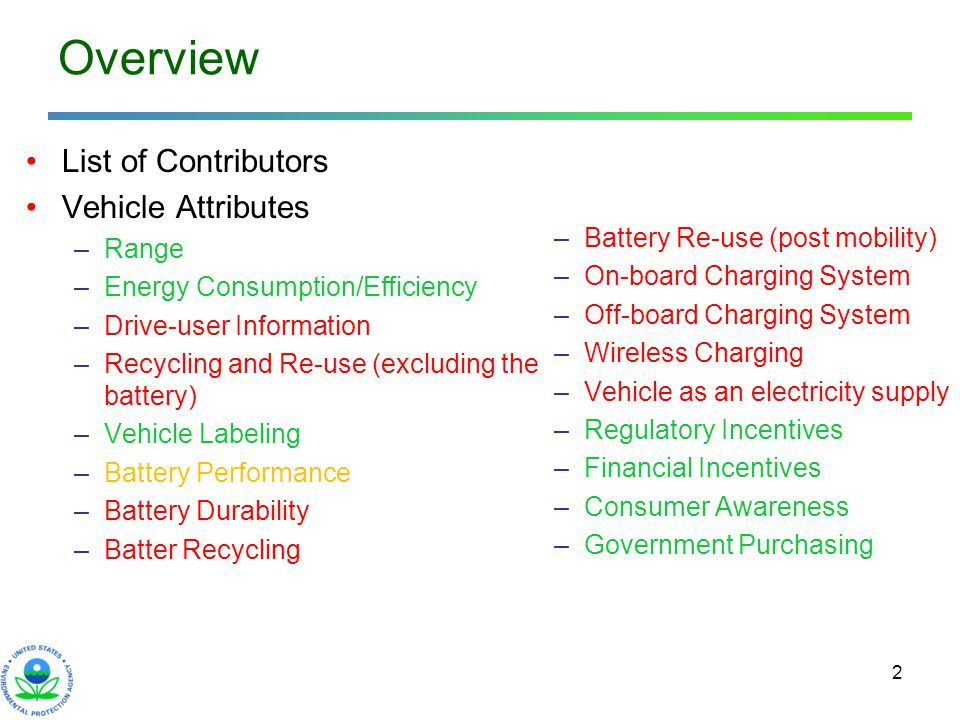 2 Overview List of Contributors Vehicle Attributes –Range –Energy Consumption/Efficiency –Drive-user Information –Recycling and Re-use (excluding the