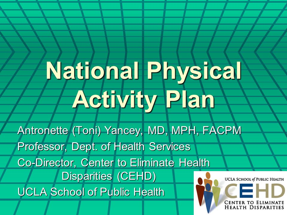 National Physical Activity Plan Antronette (Toni) Yancey, MD, MPH, FACPM Professor, Dept. of Health Services Co-Director, Center to Eliminate Health D