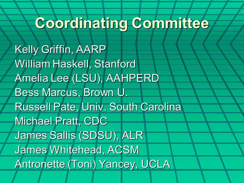 Coordinating Committee Kelly Griffin, AARP William Haskell, Stanford Amelia Lee (LSU), AAHPERD Bess Marcus, Brown U.