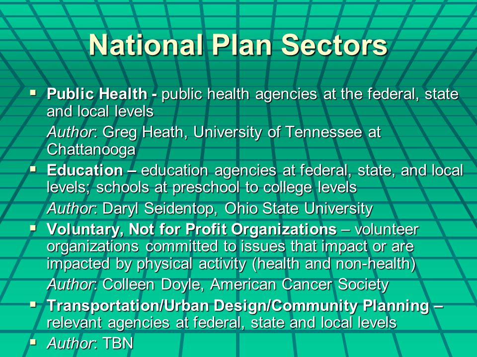 National Plan Sectors  Public Health - public health agencies at the federal, state and local levels Author: Greg Heath, University of Tennessee at Chattanooga  Education – education agencies at federal, state, and local levels; schools at preschool to college levels Author: Daryl Seidentop, Ohio State University  Voluntary, Not for Profit Organizations – volunteer organizations committed to issues that impact or are impacted by physical activity (health and non-health) Author: Colleen Doyle, American Cancer Society  Transportation/Urban Design/Community Planning – relevant agencies at federal, state and local levels  Author: TBN