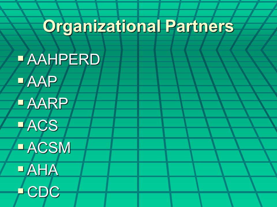 Organizational Partners  AAHPERD  AAP  AARP  ACS  ACSM  AHA  CDC