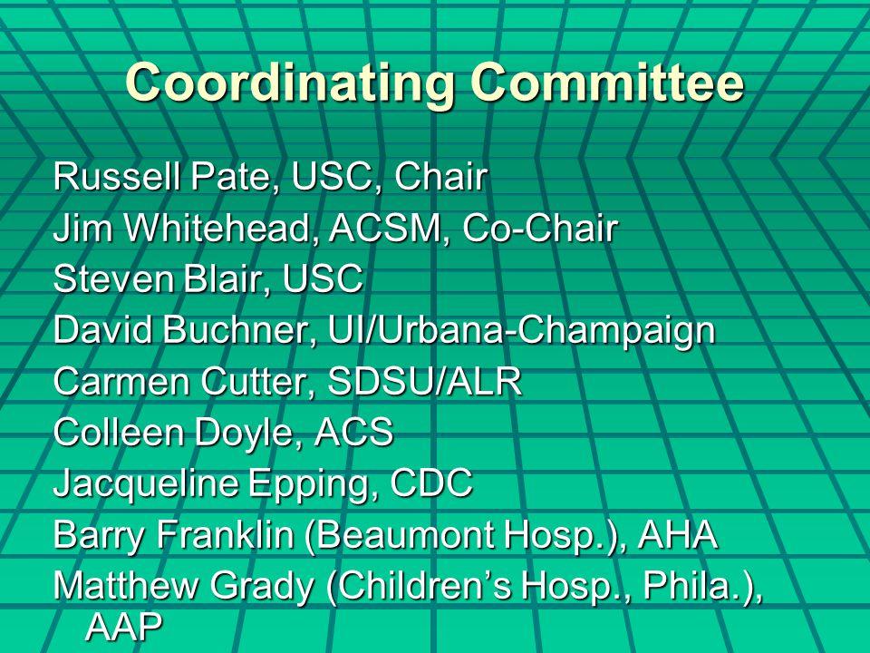 Coordinating Committee Russell Pate, USC, Chair Jim Whitehead, ACSM, Co-Chair Steven Blair, USC David Buchner, UI/Urbana-Champaign Carmen Cutter, SDSU