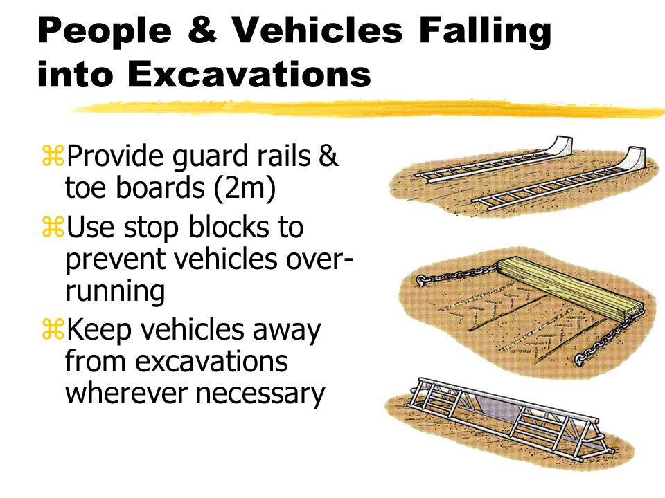 People & Vehicles Falling into Excavations zProvide guard rails & toe boards (2m) zUse stop blocks to prevent vehicles over- running zKeep vehicles away from excavations wherever necessary