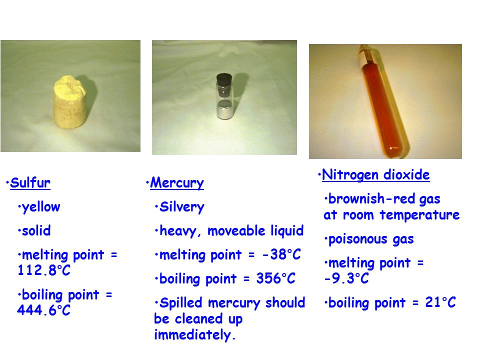 Heat conductivity Electrical conductivity Boiling, freezing points Texture Density