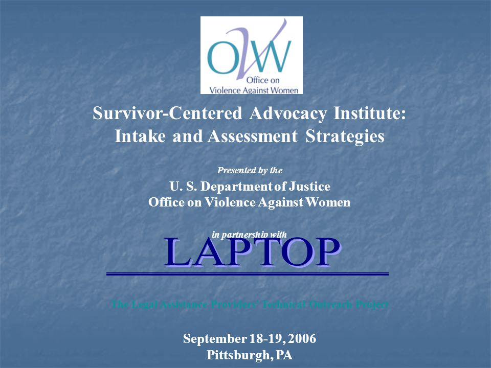 Survivor-Centered Advocacy Institute: Intake and Assessment Strategies Presented by the U.