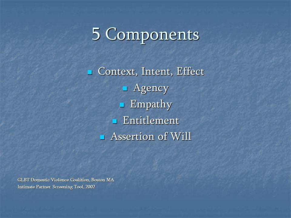 5 Components Context, Intent, Effect Context, Intent, Effect Agency Agency Empathy Empathy Entitlement Entitlement Assertion of Will Assertion of Will