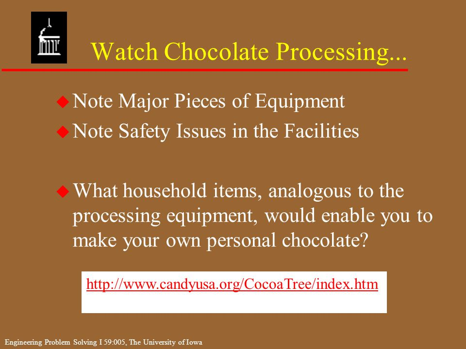Engineering Problem Solving I 59:005, The University of Iowa Watch Chocolate Processing...