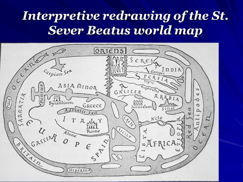 Interpretive redrawing of the St. Sever Beatus world map