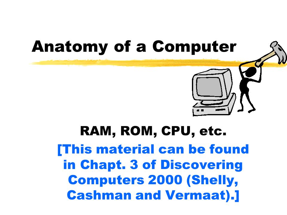 Anatomy of a Computer RAM, ROM, CPU, etc. [This material can be found in Chapt.