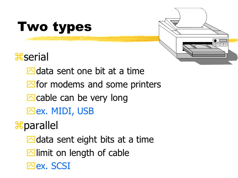 Two types zserial ydata sent one bit at a time yfor modems and some printers ycable can be very long yex.