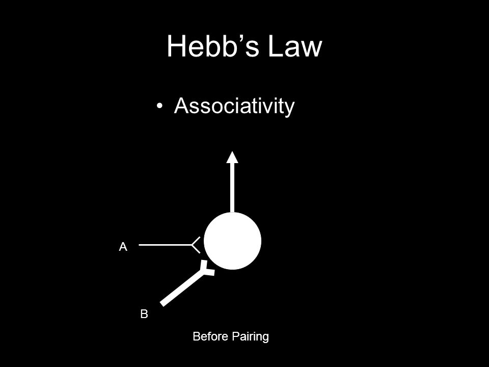 Hebb's Law Associativity Before Pairing A B