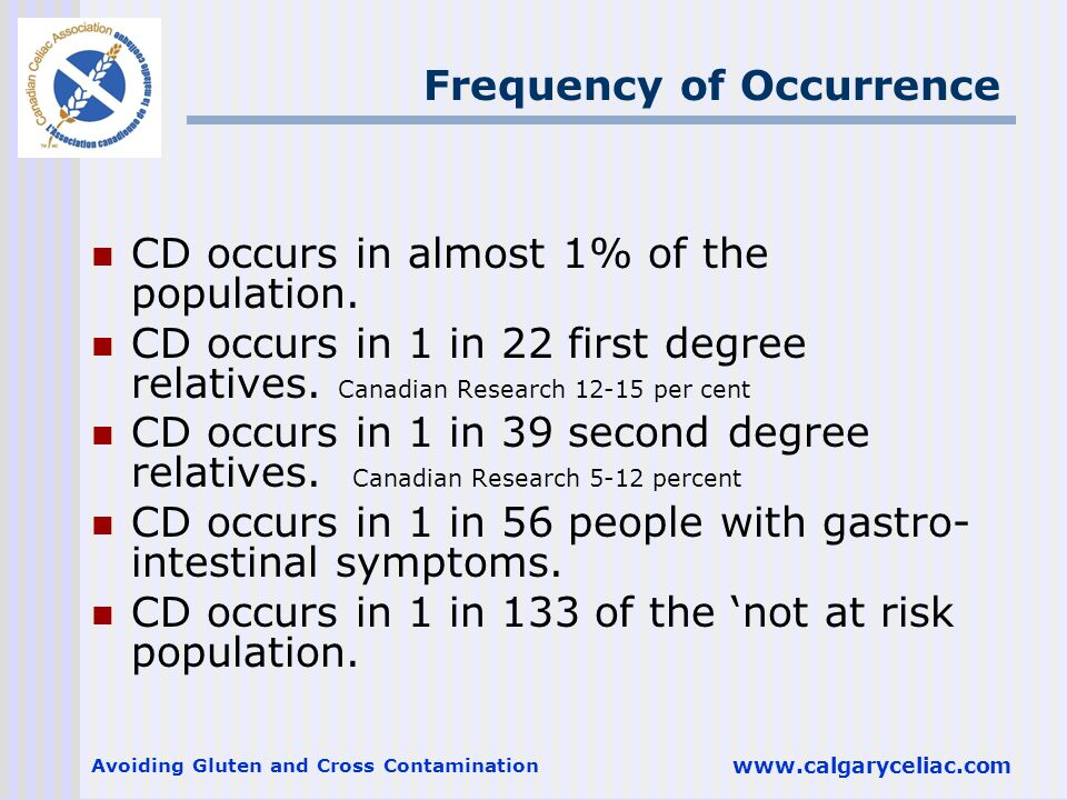 Avoiding Gluten and Cross Contamination www.calgaryceliac.com Frequency of Occurrence CD occurs in almost 1% of the population.