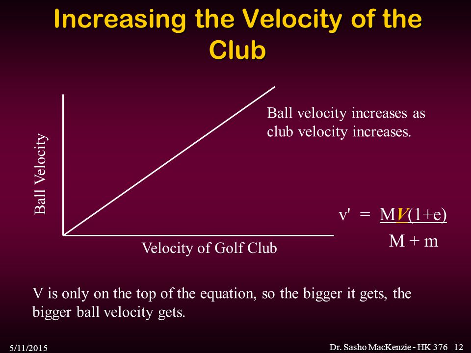 5/11/2015 Dr. Sasho MacKenzie - HK 37612 Increasing the Velocity of the Club Ball Velocity Velocity of Golf Club V is only on the top of the equation,