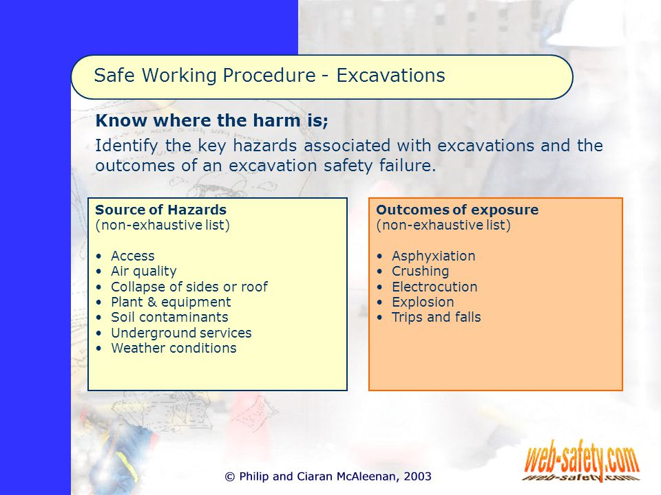 Know where the harm is; Identify the key hazards associated with excavations and the outcomes of an excavation safety failure.