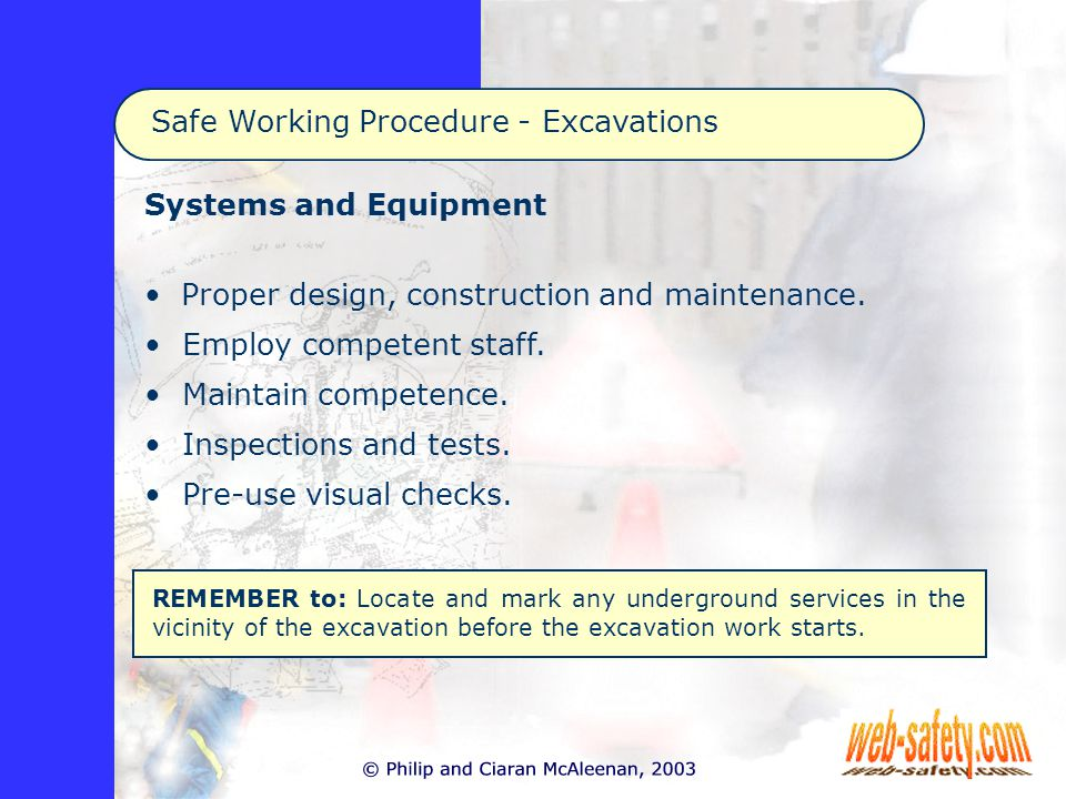 Systems and Equipment Proper design, construction and maintenance.