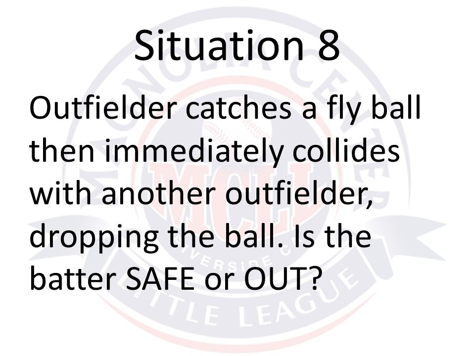 Outfielder catches a fly ball then immediately collides with another outfielder, dropping the ball.