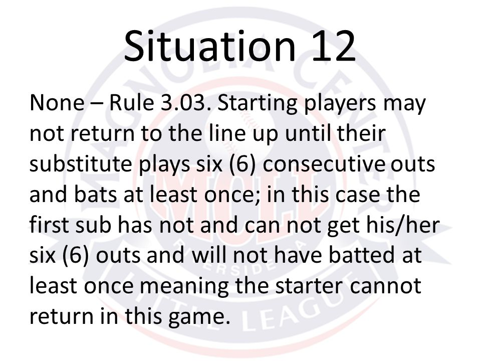 None – Rule 3.03. Starting players may not return to the line up until their substitute plays six (6) consecutive outs and bats at least once; in this