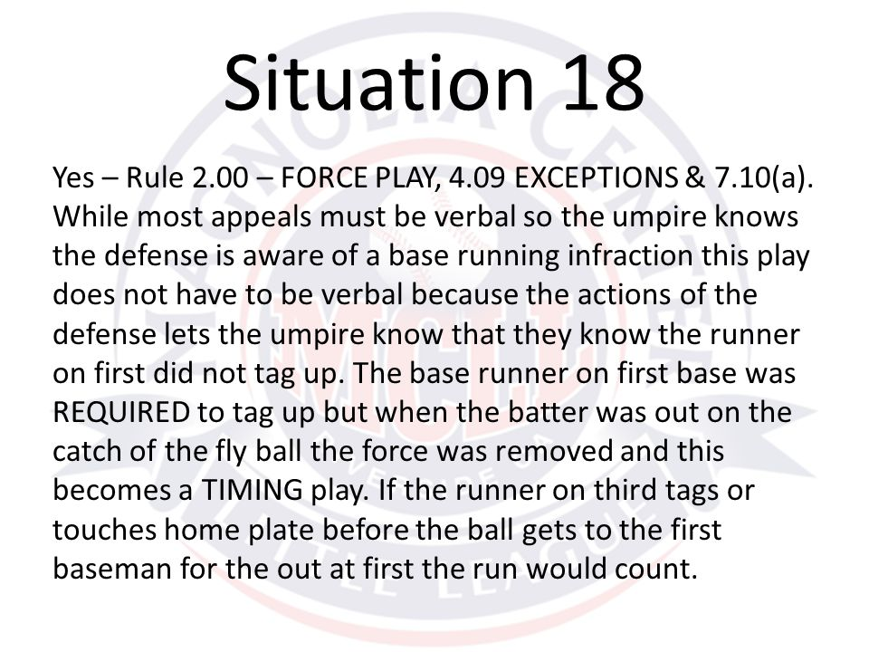 Yes – Rule 2.00 – FORCE PLAY, 4.09 EXCEPTIONS & 7.10(a).
