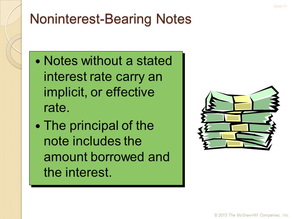 Slide 11 Noninterest-Bearing Notes Notes without a stated interest rate carry an implicit, or effective rate.
