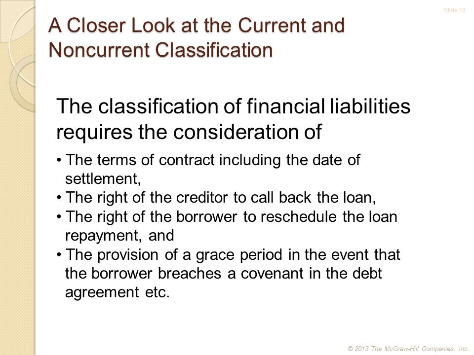 Slide 18 A Closer Look at the Current and Noncurrent Classification The classification of financial liabilities requires the consideration of The terms of contract including the date of settlement, The right of the creditor to call back the loan, The right of the borrower to reschedule the loan repayment, and The provision of a grace period in the event that the borrower breaches a covenant in the debt agreement etc.
