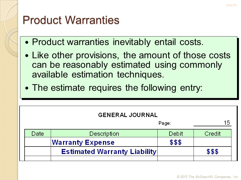 Slide 29 Product Warranties Product warranties inevitably entail costs.