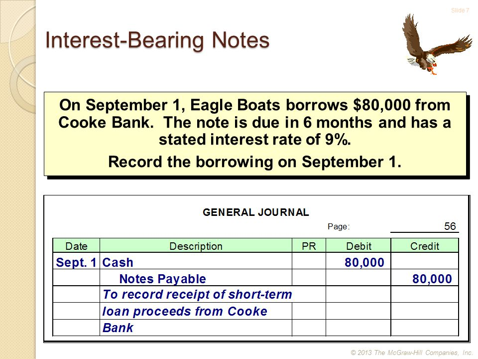 Slide 7 Interest-Bearing Notes On September 1, Eagle Boats borrows $80,000 from Cooke Bank.