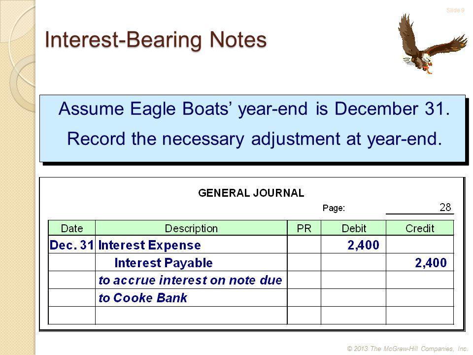 Slide 10 Interest-bearing Notes Assume Eagle Boats' year-end is December 31.