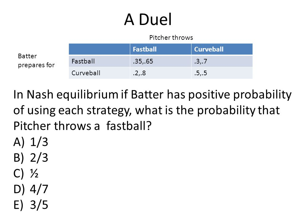 A Duel FastballCurveball Fastball.35,.65.3,.7 Curveball.2,.8.5,.5 Pitcher throws Batter prepares for In Nash equilibrium if Batter has positive probability of using each strategy, what is the probability that Pitcher throws a fastball.
