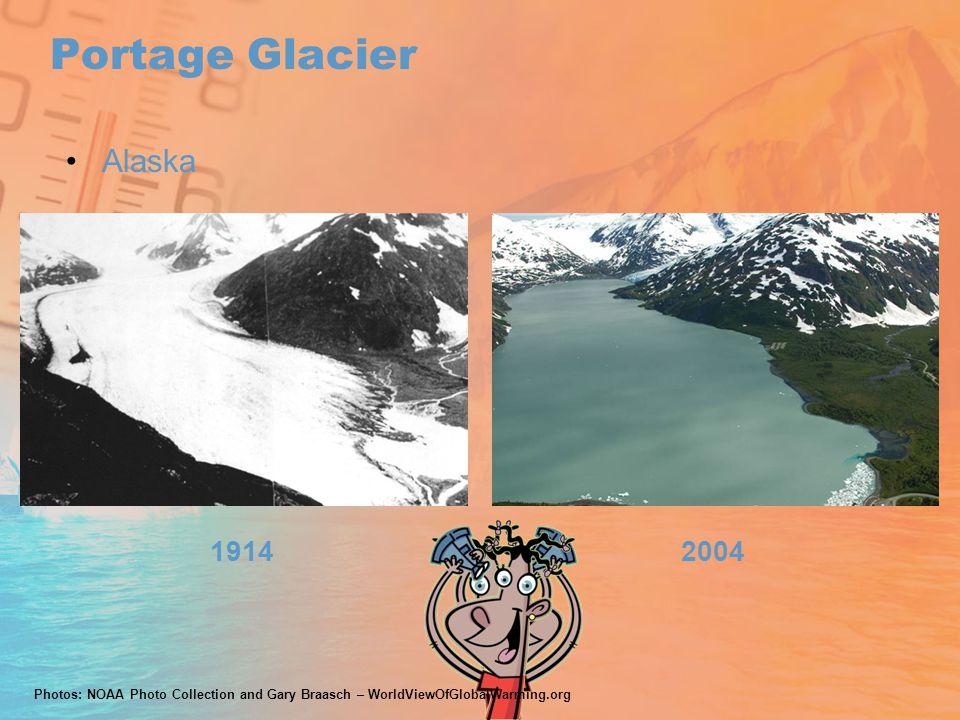 Portage Glacier 19142004 Alaska Photos: NOAA Photo Collection and Gary Braasch – WorldViewOfGlobalWarming.org