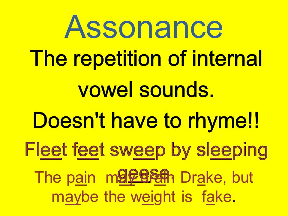 Assonance The pain may drain Drake, but maybe the weight is fake.