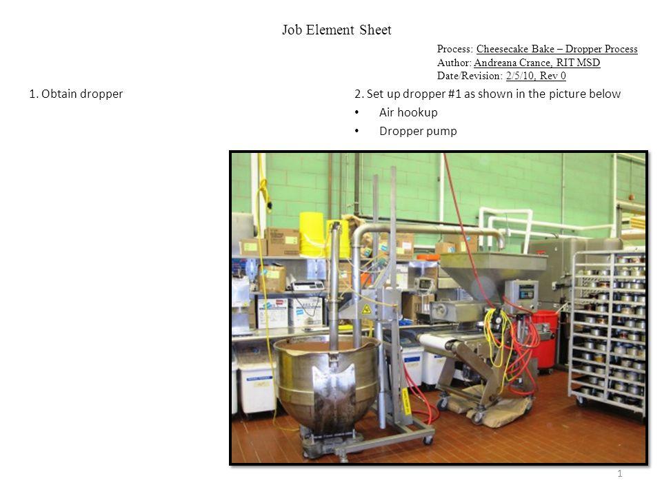 Job Element Sheet Process: Cheesecake Bake – Dropper Process Author: Andreana Crance, RIT MSD Date/Revision: 2/5/10, Rev 0 3.