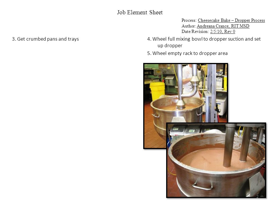 Job Element Sheet Process: Cheesecake Bake – Dropper Process Author: Andreana Crance, RIT MSD Date/Revision: 2/5/10, Rev 0 6a.