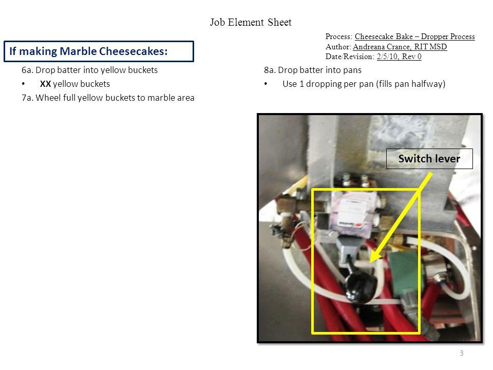 Job Element Sheet Process: Cheesecake Bake – Dropper Process Author: Andreana Crance, RIT MSD Date/Revision: 2/5/10, Rev 0 6b.