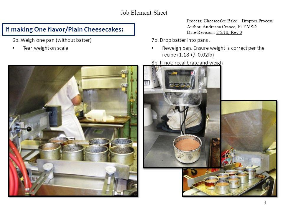 Job Element Sheet Process: Cheesecake Bake – Dropper Process Author: Andreana Crance, RIT MSD Date/Revision: 2/5/10, Rev 0 9.