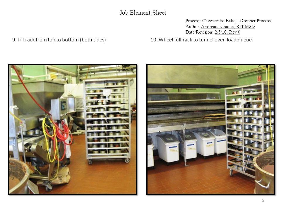 Job Element Sheet Process: Cheesecake Bake – Dropper Process Author: Andreana Crance, RIT MSD Date/Revision: 2/5/10, Rev 0 11.