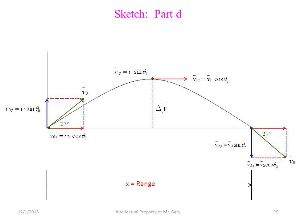 Sketch: Part d x = Range 12/1/201319Intellectual Property of Mr. Gary