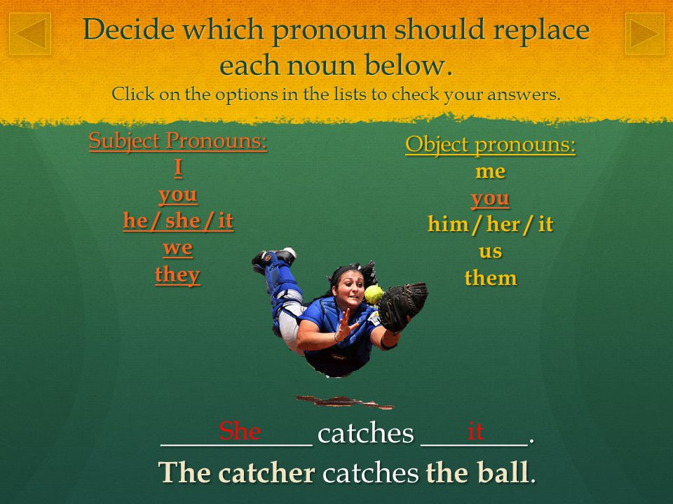 Decide which pronoun should replace each noun below.
