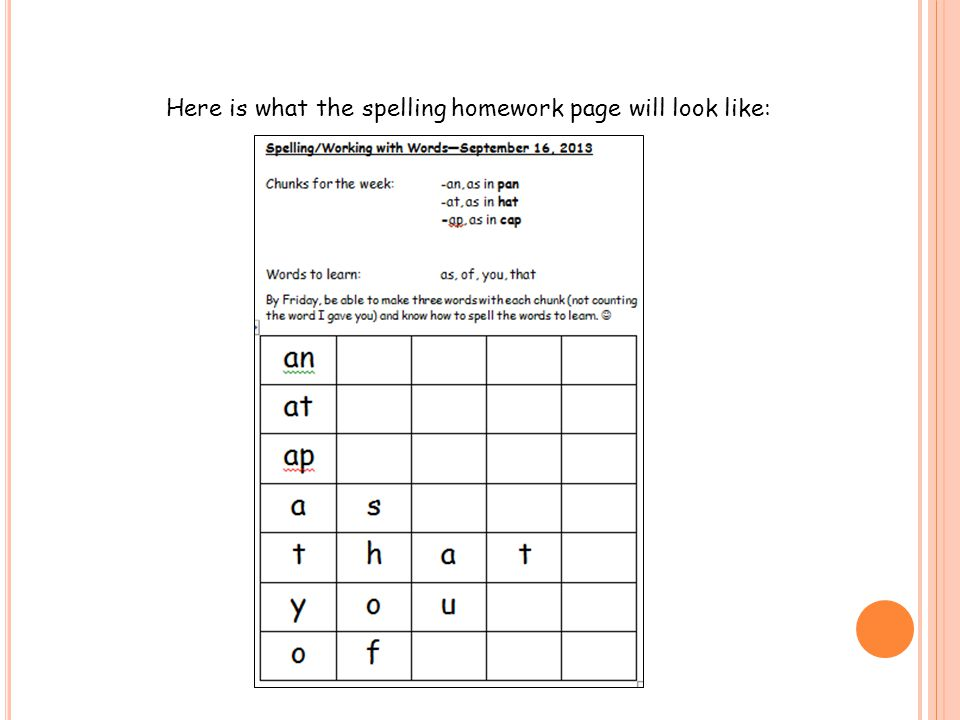 Here is what the spelling homework page will look like: