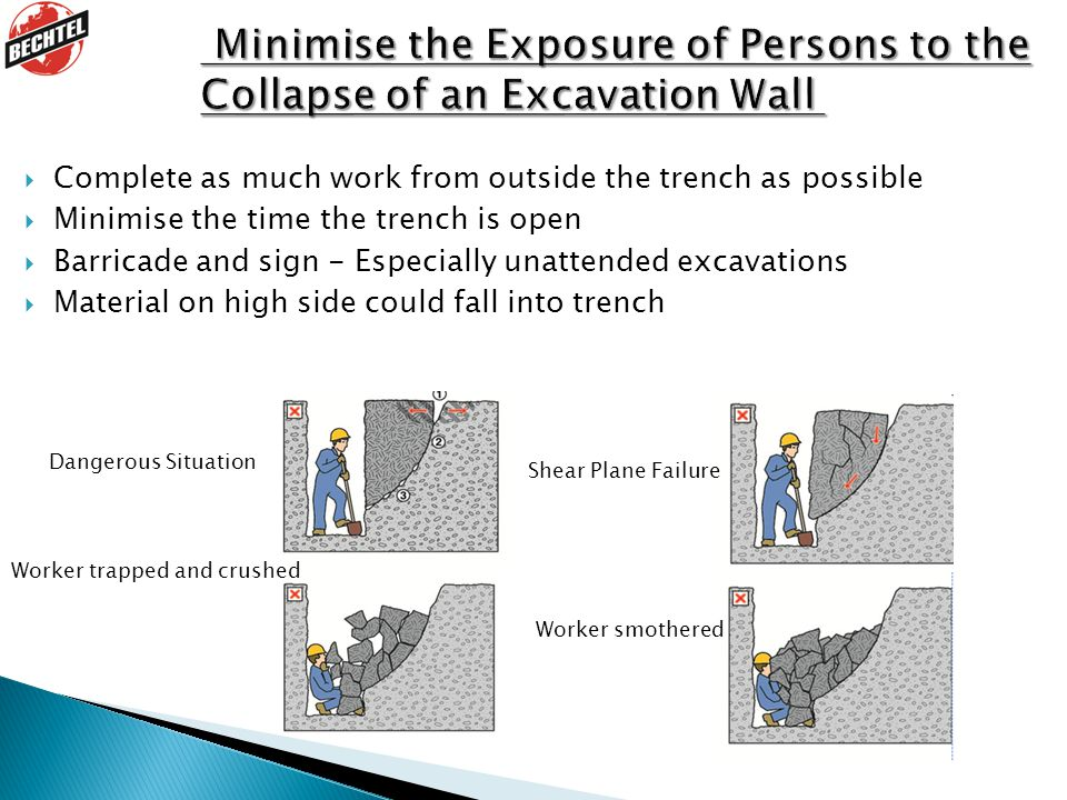  Complete as much work from outside the trench as possible  Minimise the time the trench is open  Barricade and sign - Especially unattended excavations  Material on high side could fall into trench Dangerous Situation Shear Plane Failure Worker smothered Worker trapped and crushed
