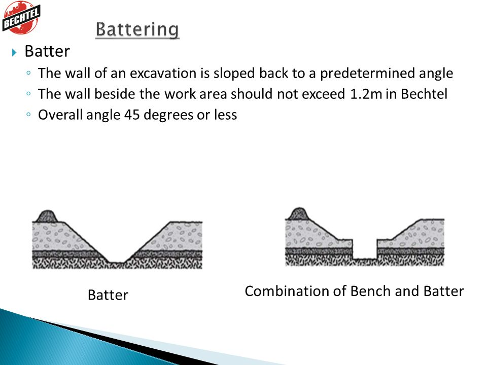  Batter ◦ The wall of an excavation is sloped back to a predetermined angle ◦ The wall beside the work area should not exceed 1.2m in Bechtel ◦ Overall angle 45 degrees or less Combination of Bench and Batter Batter