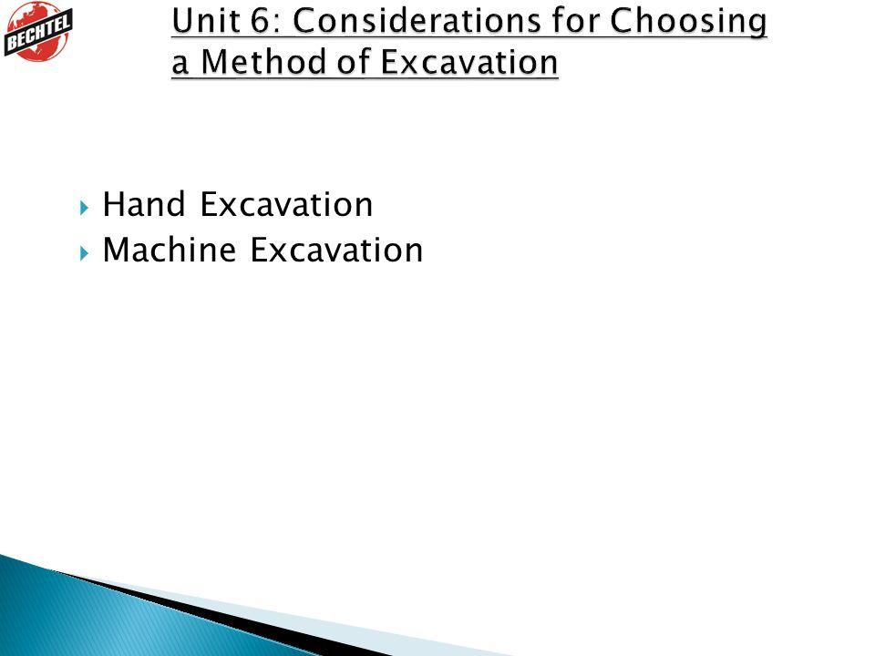  Hand Excavation  Machine Excavation