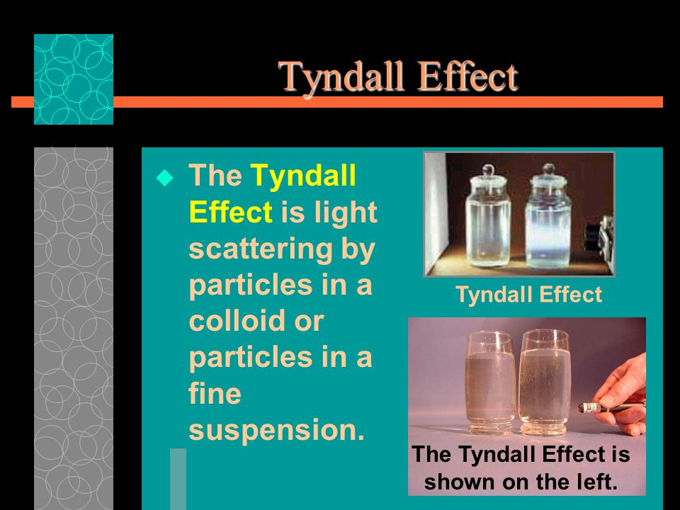 Tyndall Effect  The Tyndall Effect is light scattering by particles in a colloid or particles in a fine suspension.