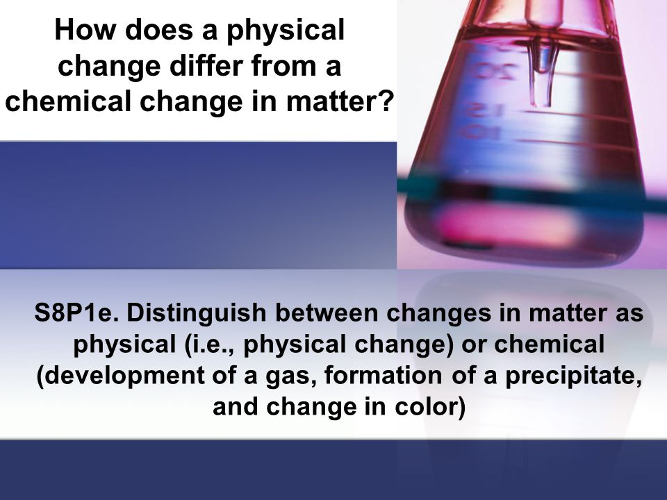 How does a physical change differ from a chemical change in matter.