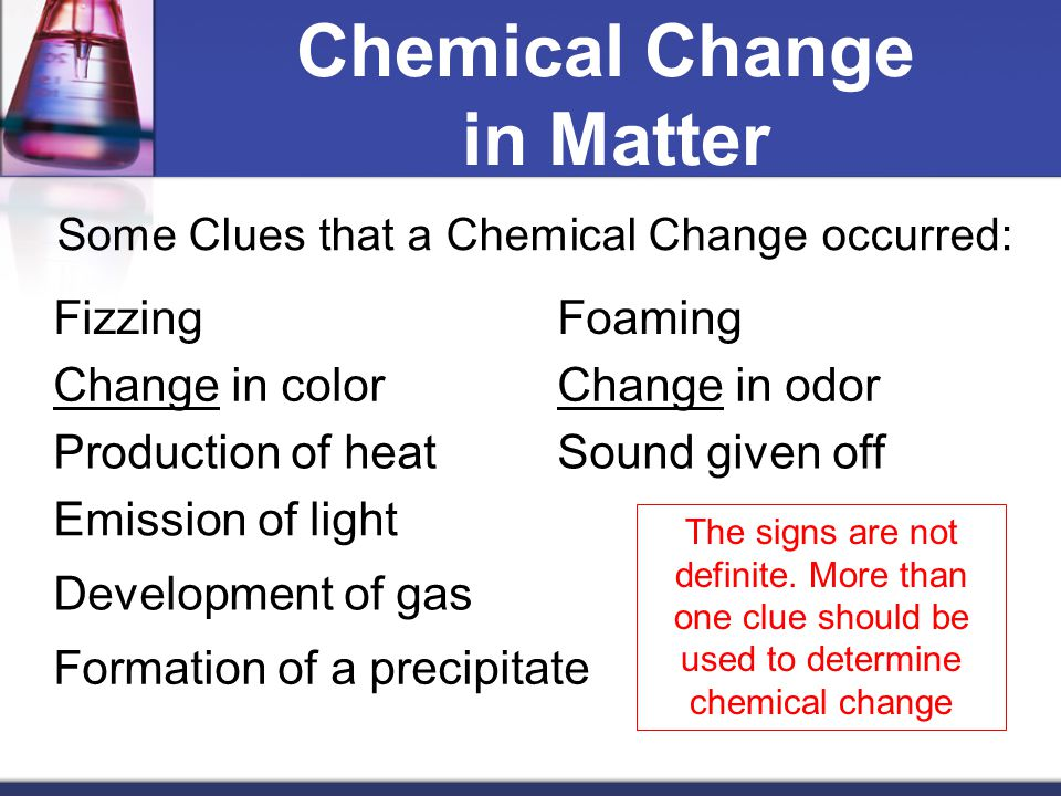 Chemical Change in Matter Some Clues that a Chemical Change occurred: FizzingFoaming Change in colorChange in odor Production of heatSound given off Emission of light Development of gas Formation of a precipitate The signs are not definite.